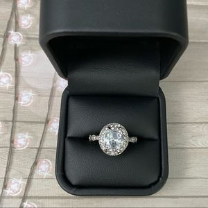 Sterling Silver Oval Halo Engagement Ring
